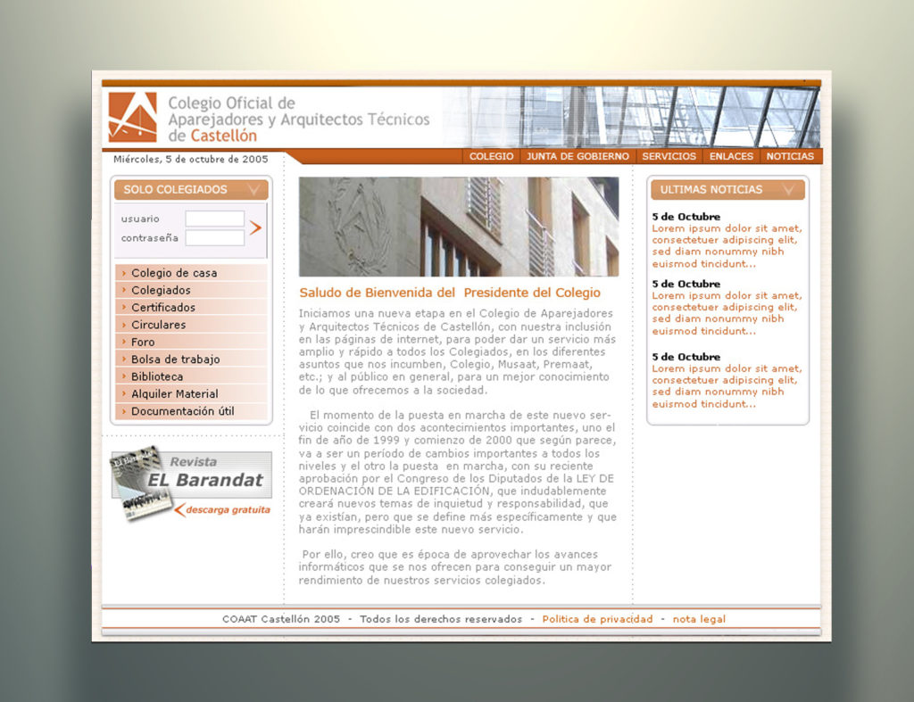 Web colegio Aparejadores by Carlos Pardo